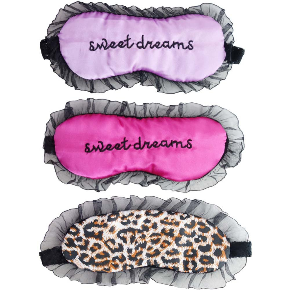 HappyDaily Beautiful and Comfortable Sleep Masks - Set of 3 (3D Cat - Pink/Grey/Black)