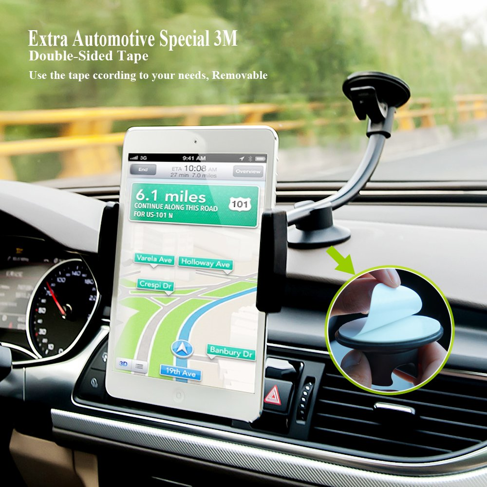 Car Phone Mount, Newward 2 Clamps Long Arm Universal Windshield Dashboard Cell Phone Holder for iPhone X 8 7 Plus 6 6s Plus 5s, Samsung Galaxy S9 S8 S7 S6 S5 Note,Google,LG and other Smartphones by Newward (Image #5)