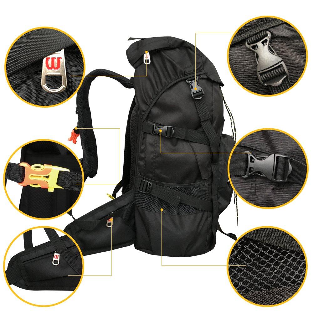 Hiking Backpack FEMO 50L Large Capacity Waterproof Nylon Fabric Trekking Bag For Men And Women (Black)