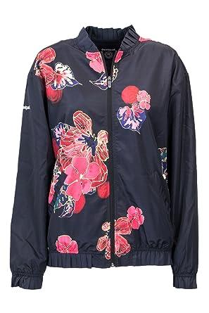 Desigual Bloom Plisados Jacket 18woew01 Scarlet Bomber M Negro kuTOPiXZ