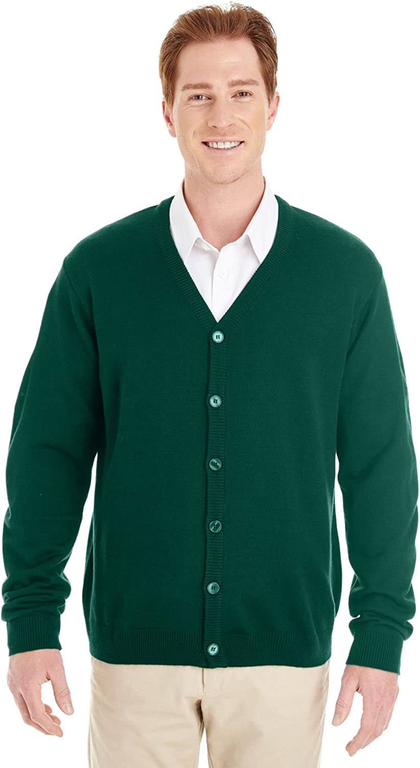 Men's Vintage Sweaters, Retro Jumpers 1920s to 1980s Harriton Pilbloc V-Neck Button Cardigan Sweater (M425) $40.02 AT vintagedancer.com