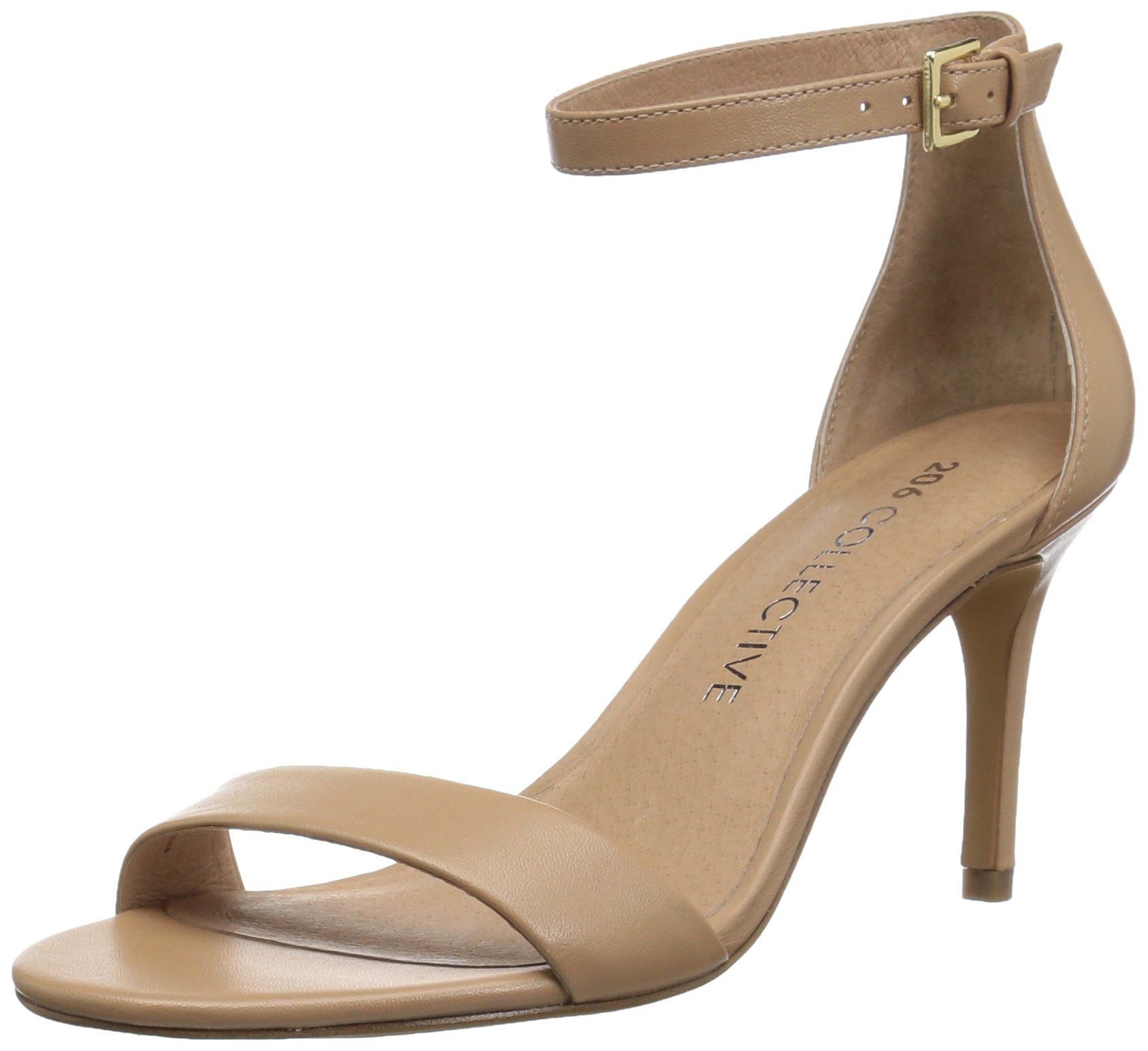 206 Collective Women's Anamarie Stiletto Heel Dress High Heeled Sandal, Neutral Leather, 6 C/D US