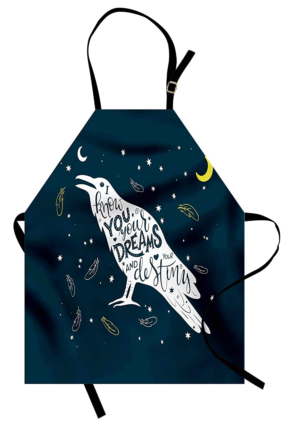 Ravenエプロンby printawe、ホワイト鳥シルエットwith Inspirational Quote on Night Sky Backdrop、ユニセックスキッチン調節可能なネックよだれかけエプロンfor Cooking Bakingガーデニング、ダークブルーイエローとホワイト   B07BFCL131