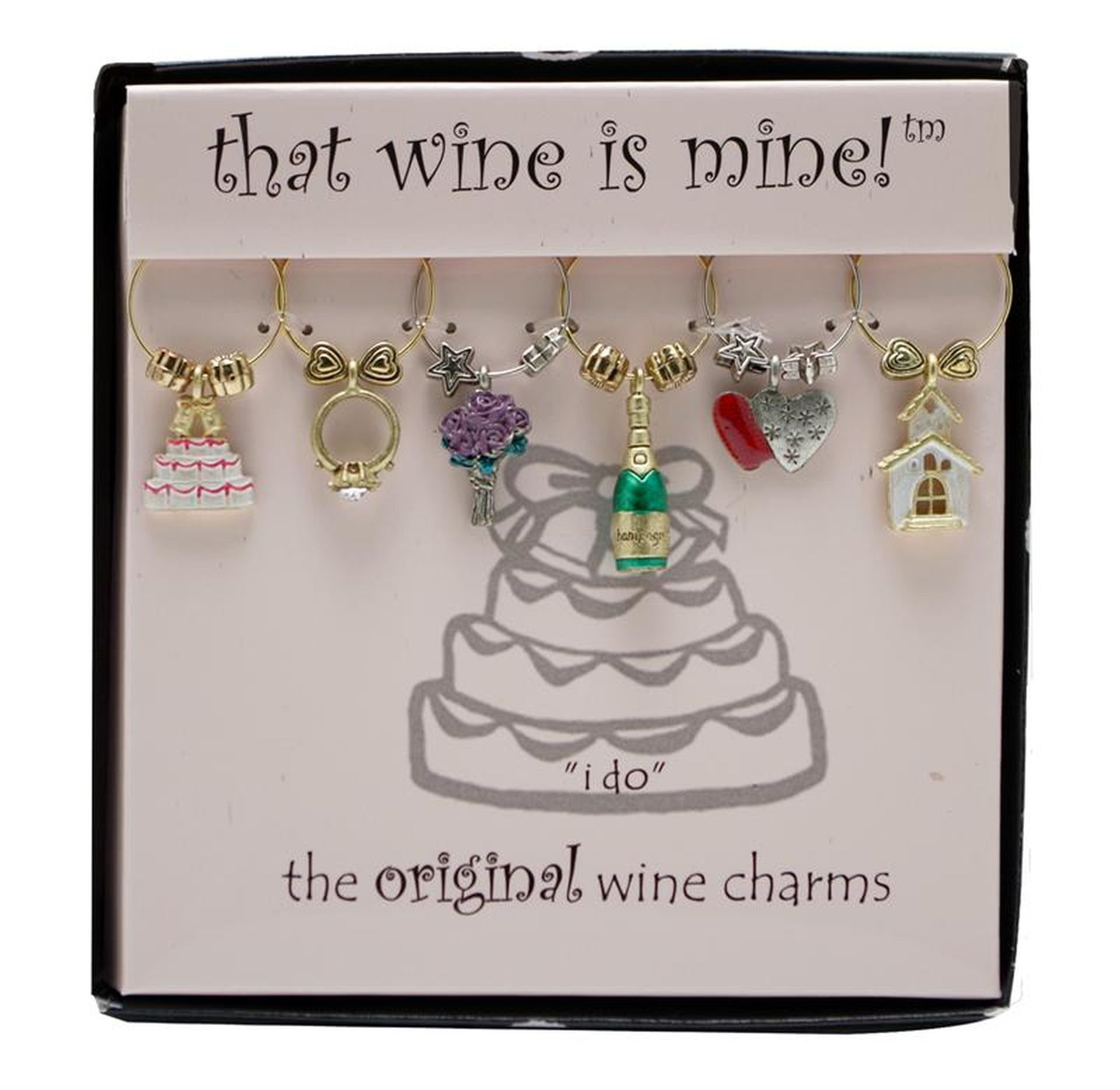 Wine Things WT-1410P I Do, Painted Wine Charms, Fits neatly around stem, Multi-Color by Wine Things