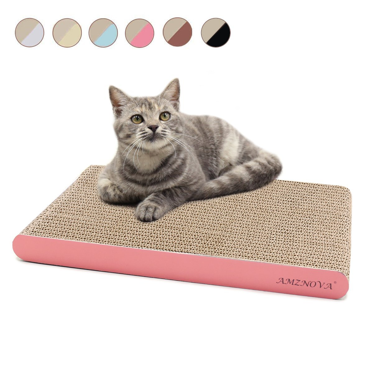 AMZNOVA Durable Cat Scratcher Lounge, Eco-Friendly Cardboard, Colors Series, Wide, Pink
