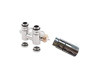 Multi Block Set Válvula Termostato integrada para montaje en el baño Radiador con T - Pieza para Dual/Mixta operativos (grifo derecho Pinza Juego Plástico): ...