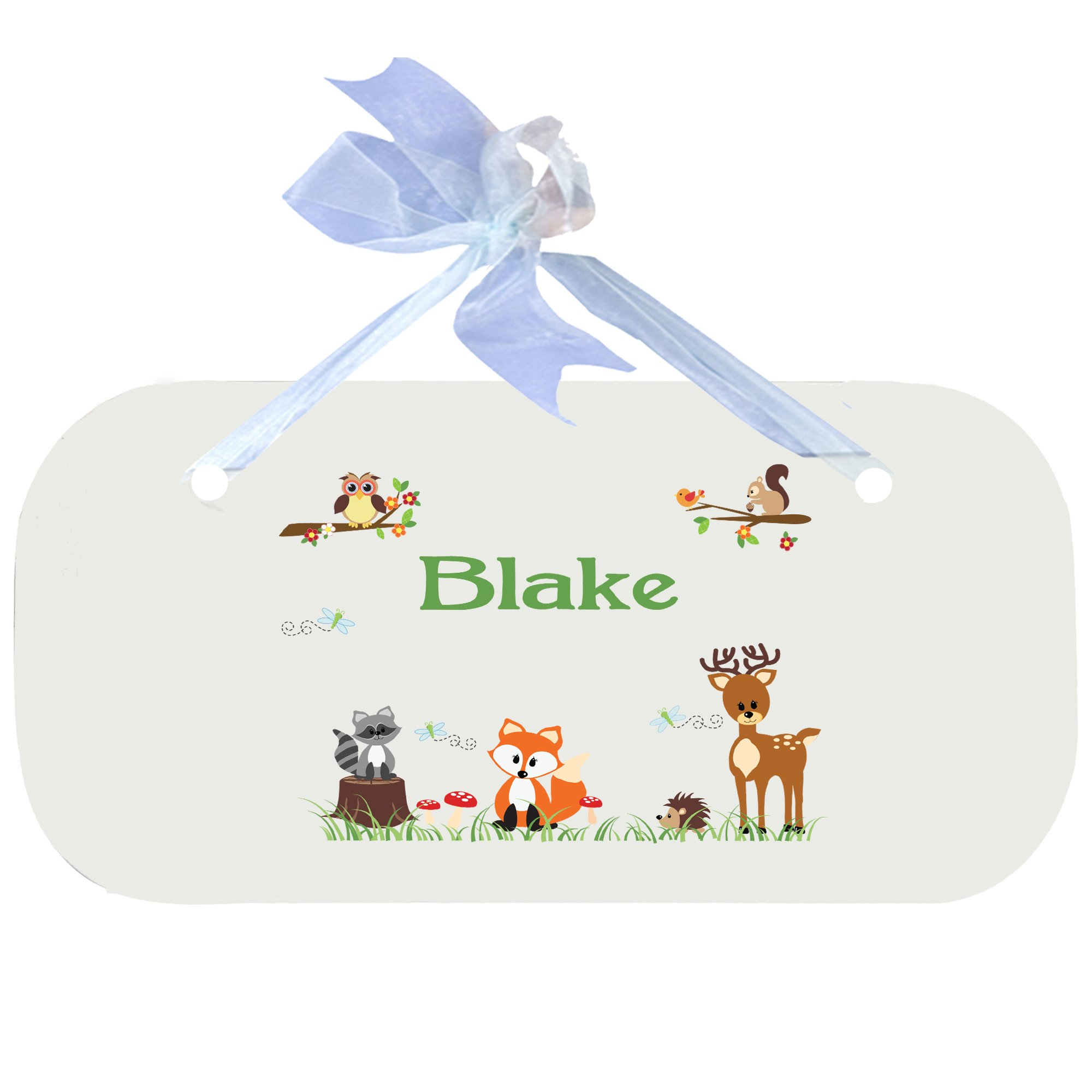 Personalized Green Forest Animal Nursery Door Hanger Plaque with blue ribbon