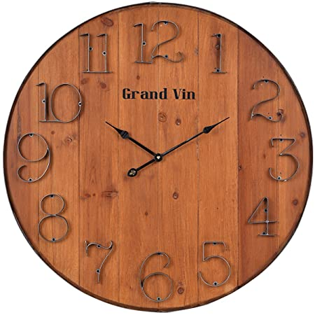 NIKKY HOME Rustic Vintage Wall Clock, 24 , Brown