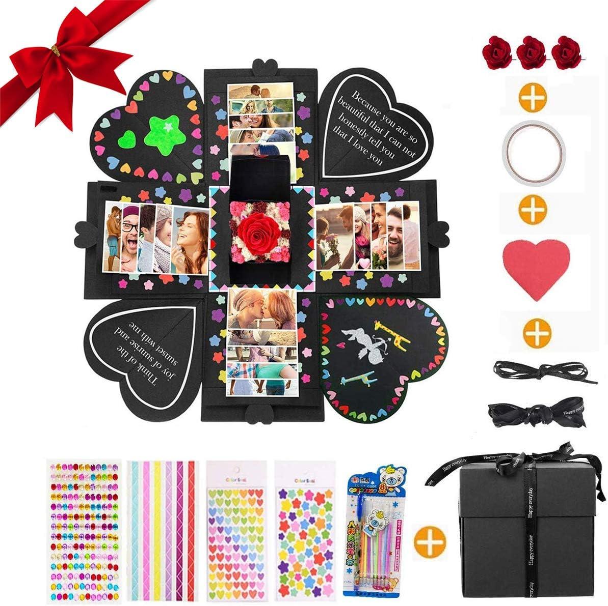 MMTX Explosion Box Scrapbook Creative DIY Photo Album, Caja Sorpresa Regalo de Fotos para cumpleaños Aniversario Boda San Valentín Día de la Madre Navidad La Caja de Regalo (Negro)…