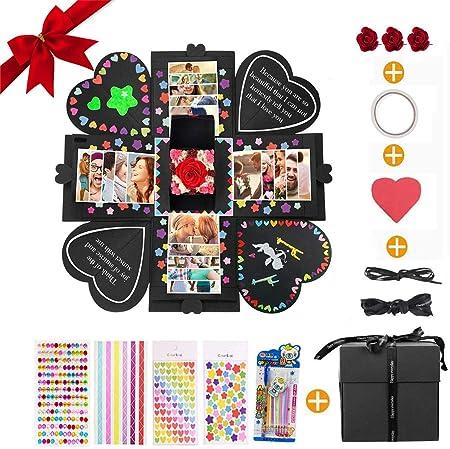 MMTX Explosion Box Scrapbook Creative DIY Photo Album, Caja Sorpresa Regalo de Fotos para cumpleaños Aniversario Boda San Valentín Día de la Madre ...