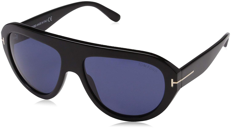 178218b5e0a Sunglasses Tom Ford FT 0589 Felix- 02 01V shiny black   blue at Amazon  Men s Clothing store
