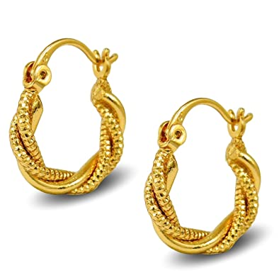 Small Gold Twisted Rope Hoop Earrings 9ct Gold Filled Creole