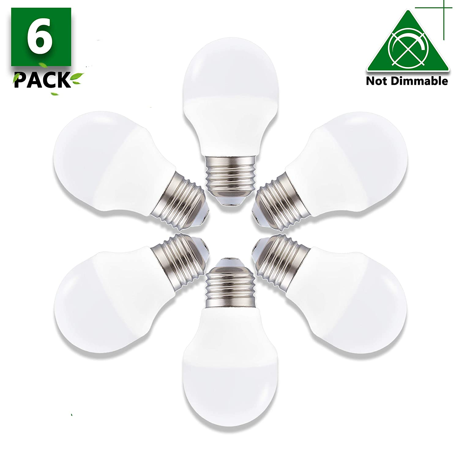 Non Dimmable A15 LED Bulb,40 Watt LED Light Bulb Equivalent,E26 Base Edison LED Bulb 5000K Daylight White LED Lights 120V 360Lumens Appliance Light Bulb for Home Lighting Decorative(6 Pack)
