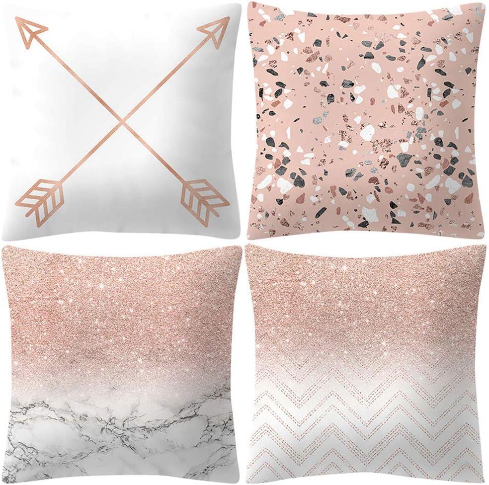 Rose Gold Geometric Print Pillow Cover Sofa Cushion Cover Car Living Room Decor
