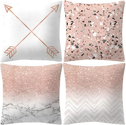 4PCS Cushion Cover Simple Striped Green Peach Skin Pillow Cases Home Decoration