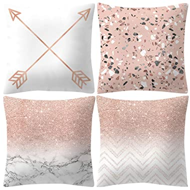 4PCS Rose Gold Pink Throw Pillow Cover Home Decorative Cushion Case 18 x 18 Inch Cotton Linen for Sofa (G)