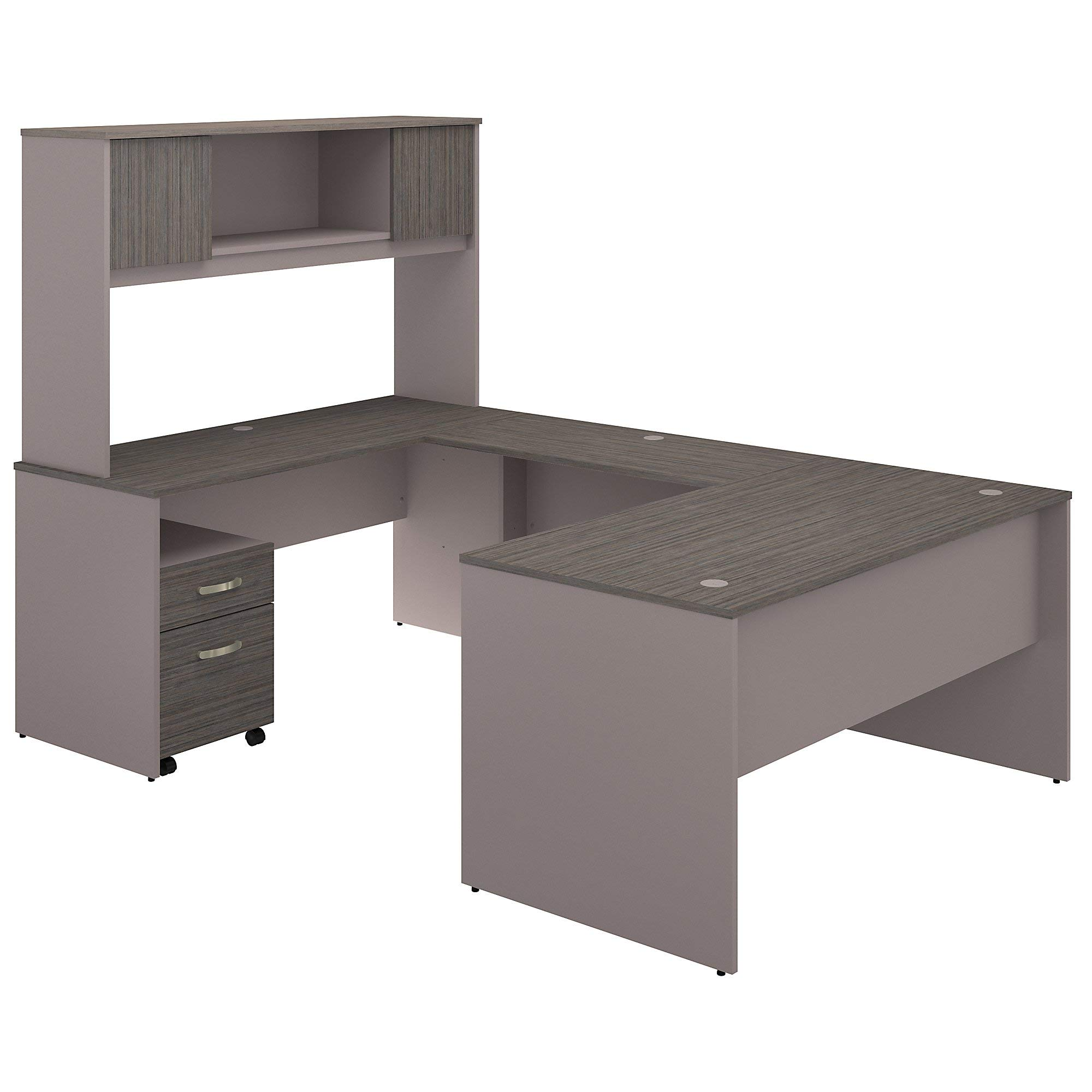 Bush Furniture Commerce 60W U Shaped Desk with Hutch and Mobile File Cabinet in Cocoa and Pewter