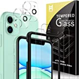 HATOSHI 2 Pack Screen Protector + 2 Pack Camera Lens Protector Compatible for iPhone 11 6.1-inch Tempered Glass, Alignment Fr
