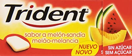 Trident Chicle con Sabor a Melón-Sandía, Grageado sin Azúcar - 14.5 g
