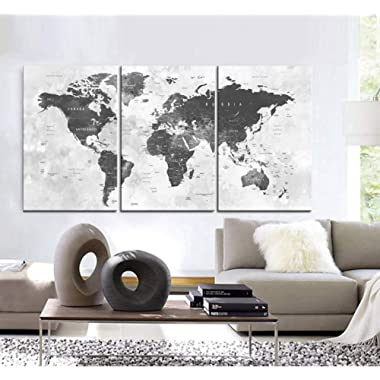 Original by BoxColors Large 30 x 60  3 Panels 30x20 Ea Art Canvas Print world Map watercolor push pin gray Wall decor Home interior (Included framed 1.5  depth)