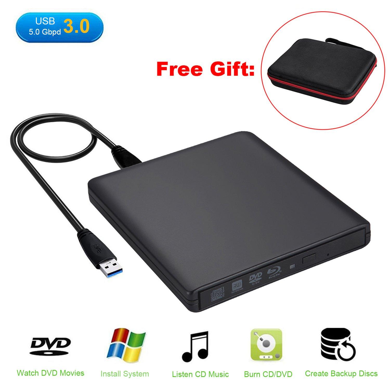 Guamar External Blue-Ray Drive,USB 3 0 Blu-Ray CD/DVD Burner/Writer with 3D  Blu-ray Disc Playback for Mac/MacBook Pro/Air/iMac/Windows 10