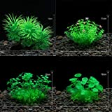 Aquarium Decoration Combination-Artificial Fish Tank Plant Vivid Underwater Plastic Waterweed, Beautiful and Easy to Care for, Non-Toxic to All Fish and Pets(4PCS 12x10 cm AG)