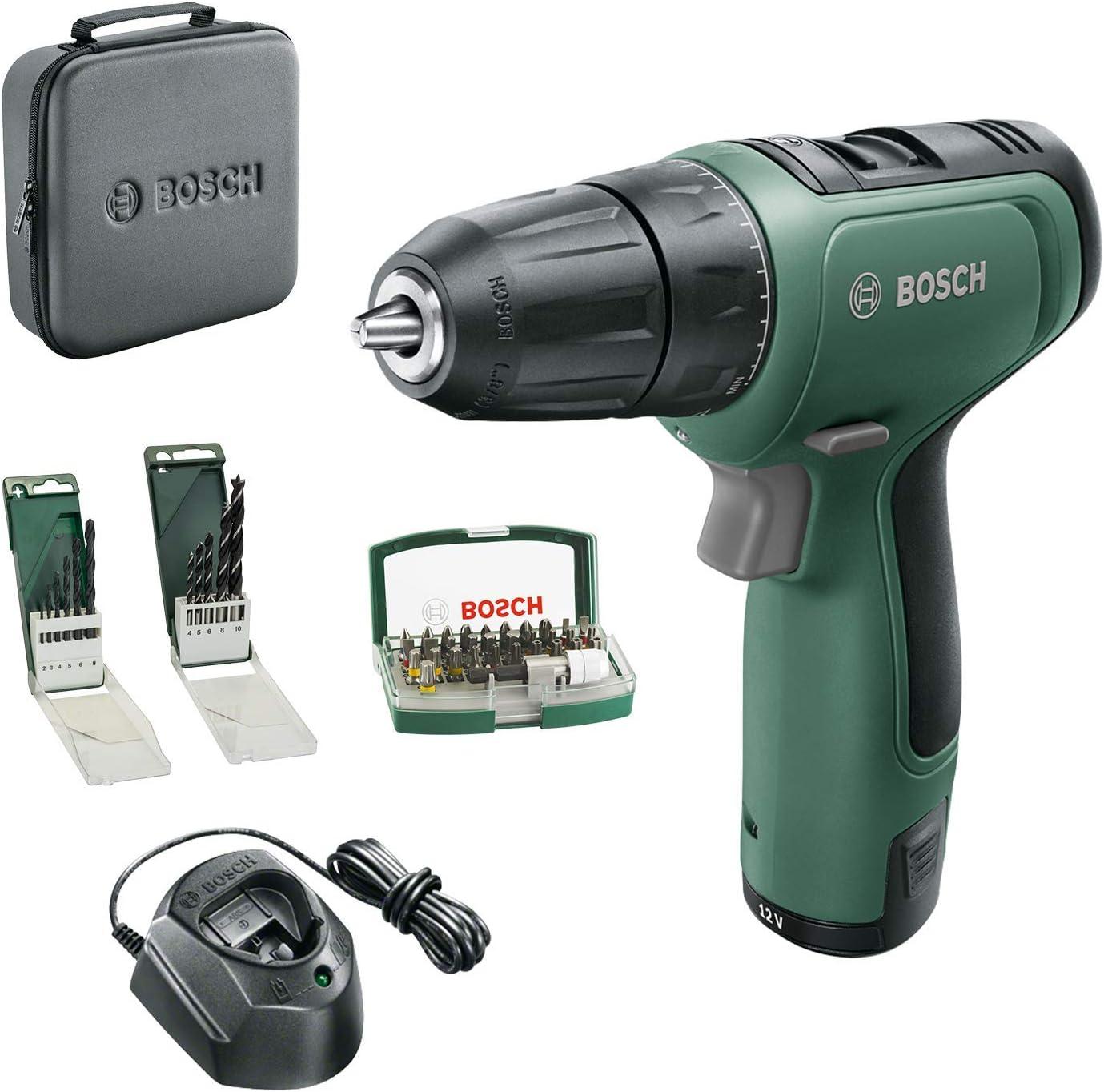 Bosch DIY Tools 06039D3004 Bosch EasyDrill 1200-Atornillador inalámbrico (batería de 2 Ah, Sistema de 12 V, Juego de Brocas y Destornilladores, en Bolsa Blanda)
