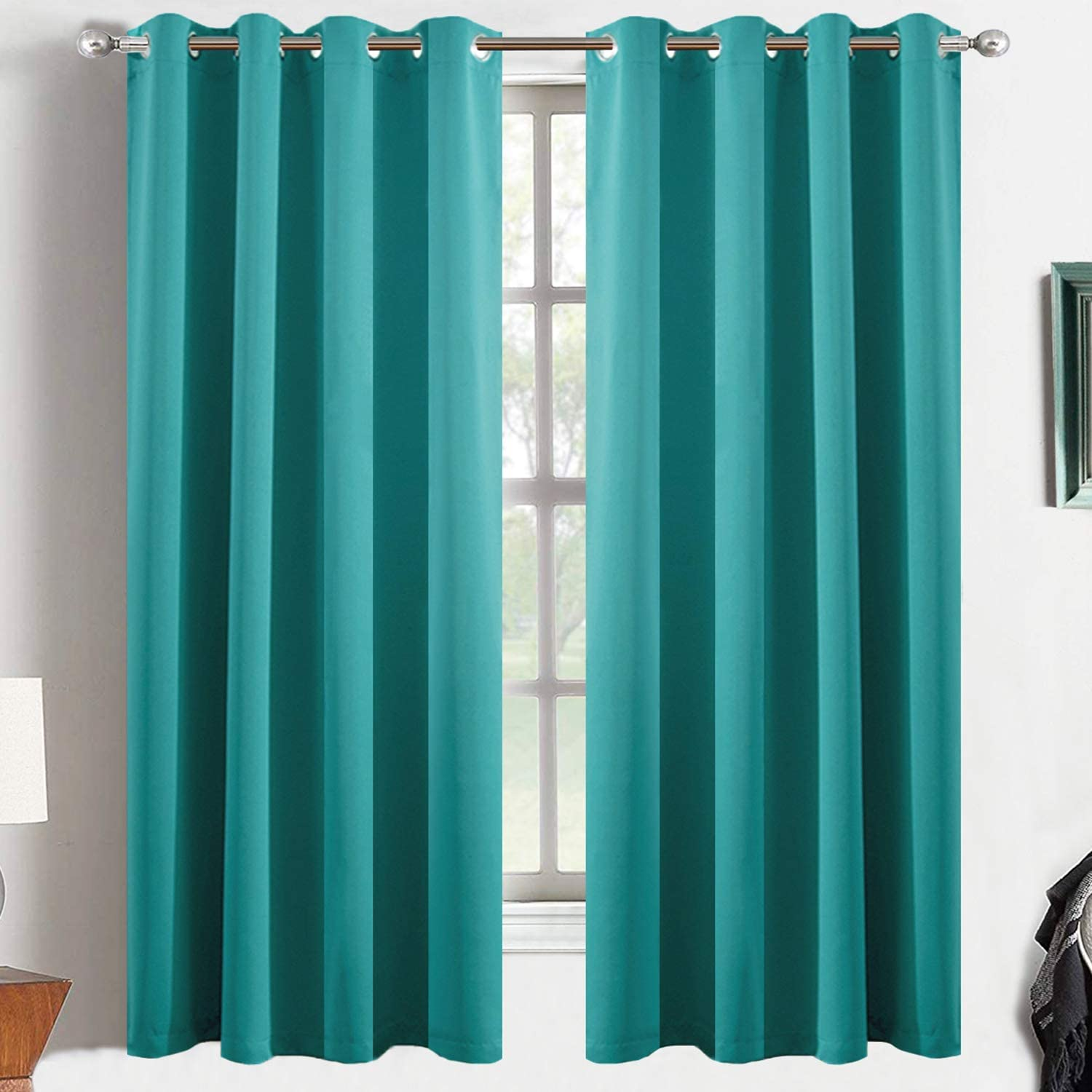 Yakamok Teal Light Blocking Window Curtains Thermal Insulated Room Darkening Draperies for Bedroom/Living Room Solid Grommet Top Window Drapes/Panels 52x63 Inch, 2 Panels