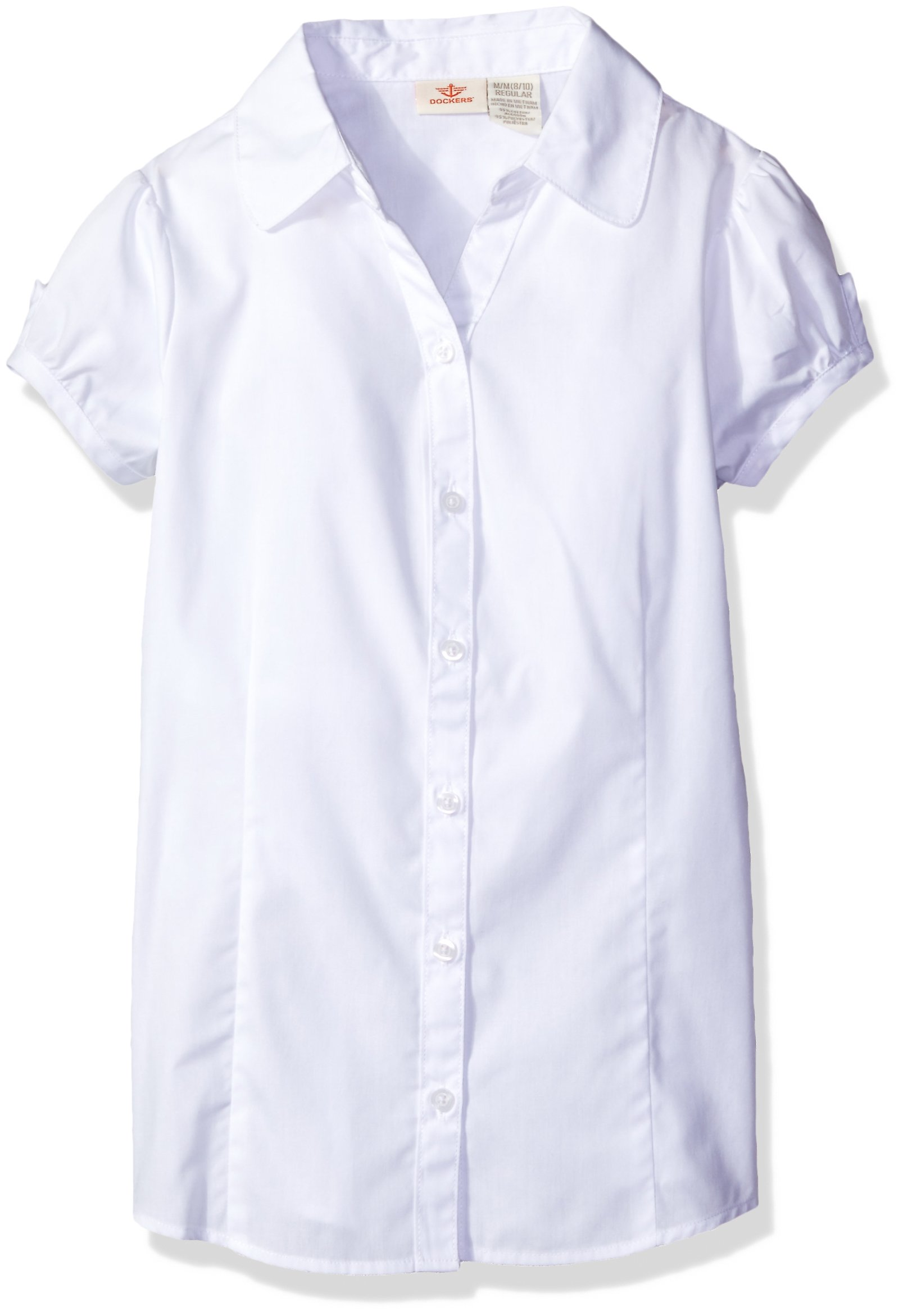 Dockers Big Girls' Uniform Y-Neck Blouse, White, Large/12/14