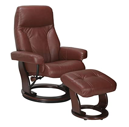 Genuine Leather Chair Swivel Recliner And Ottoman Lounger By Super Nova  (Cognac)
