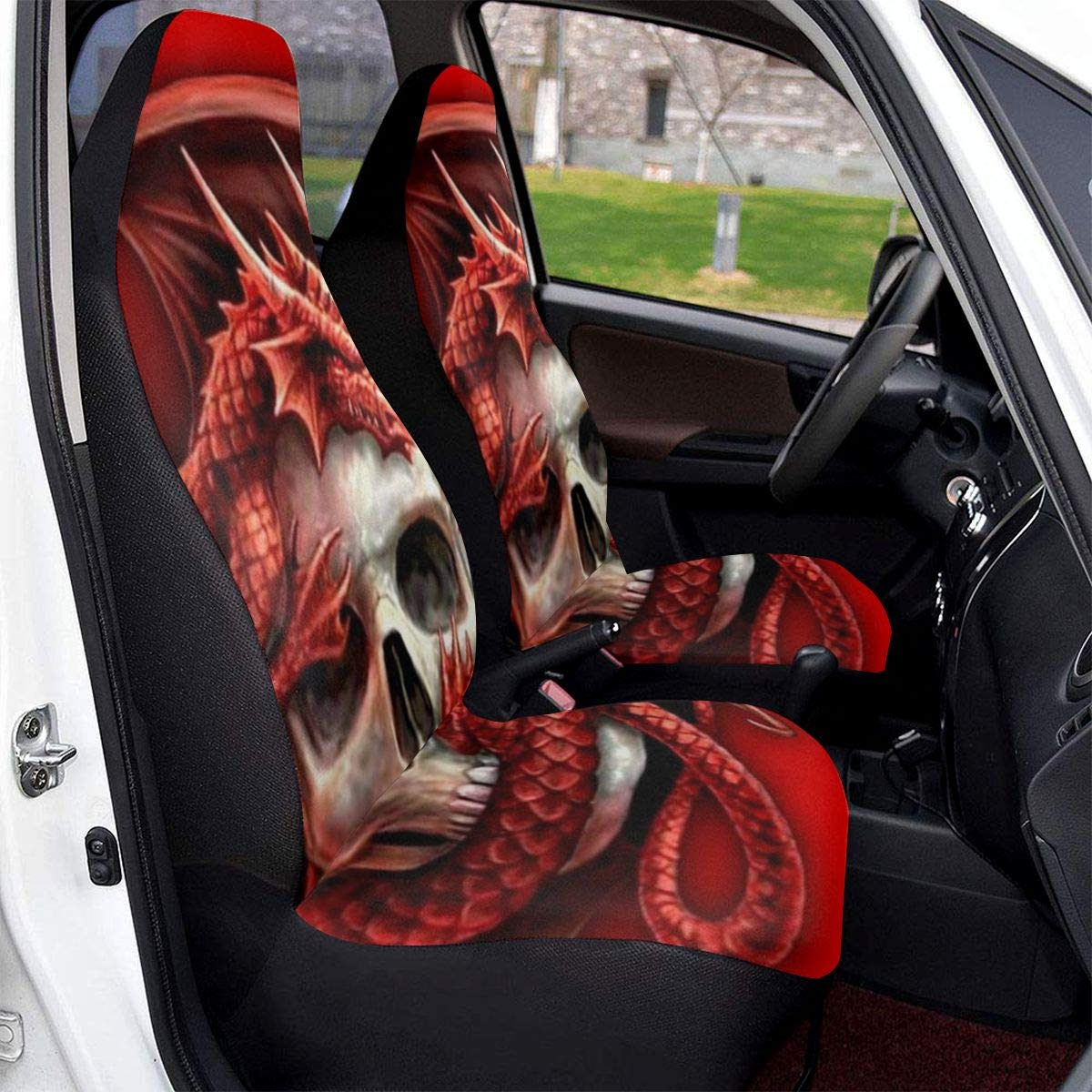 SUV Cars Sedan Trucks WESthDA Red Dragon And Skull Car Seat Covers Vehicle Seat Protector Car Mat Covers Fit Most Vehicle