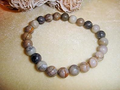 Cristal Quartz Picasso Jasper 8mm Natural Beads Yoga Prayer Bracelet Chakra Balance Meditation
