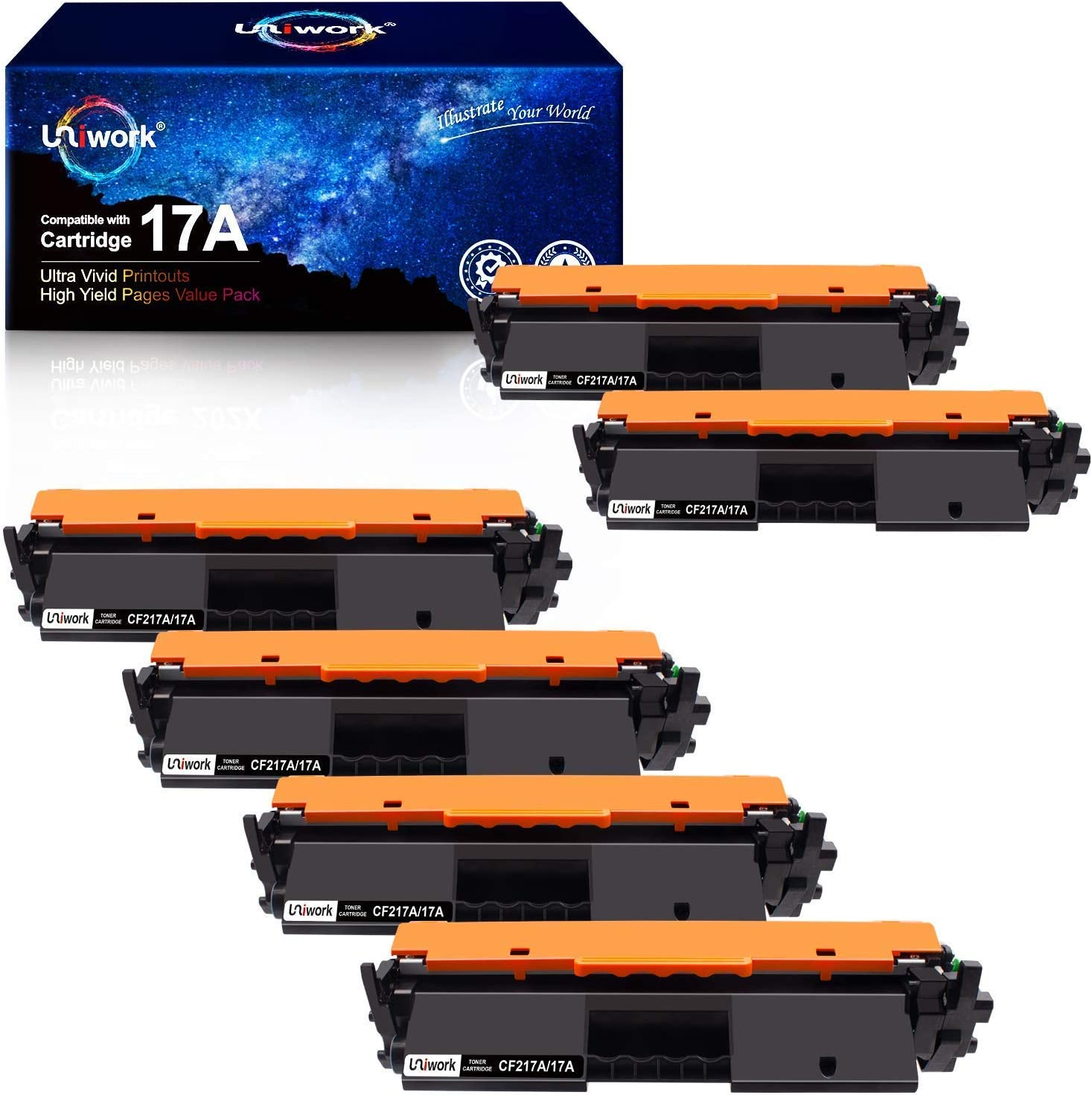 Uniwork Compatible Toner Cartridge Replacement for HP 17A CF217A 2 Black Bundled with 4 Black