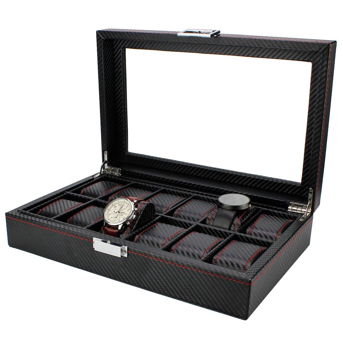 Ezeso WatchコレクションジュエリーTieボックスPUレザーカーボンファイバー表示ストレージケース EzesoSKU009631USU0069 B01MR3B00PWatch Collection Box