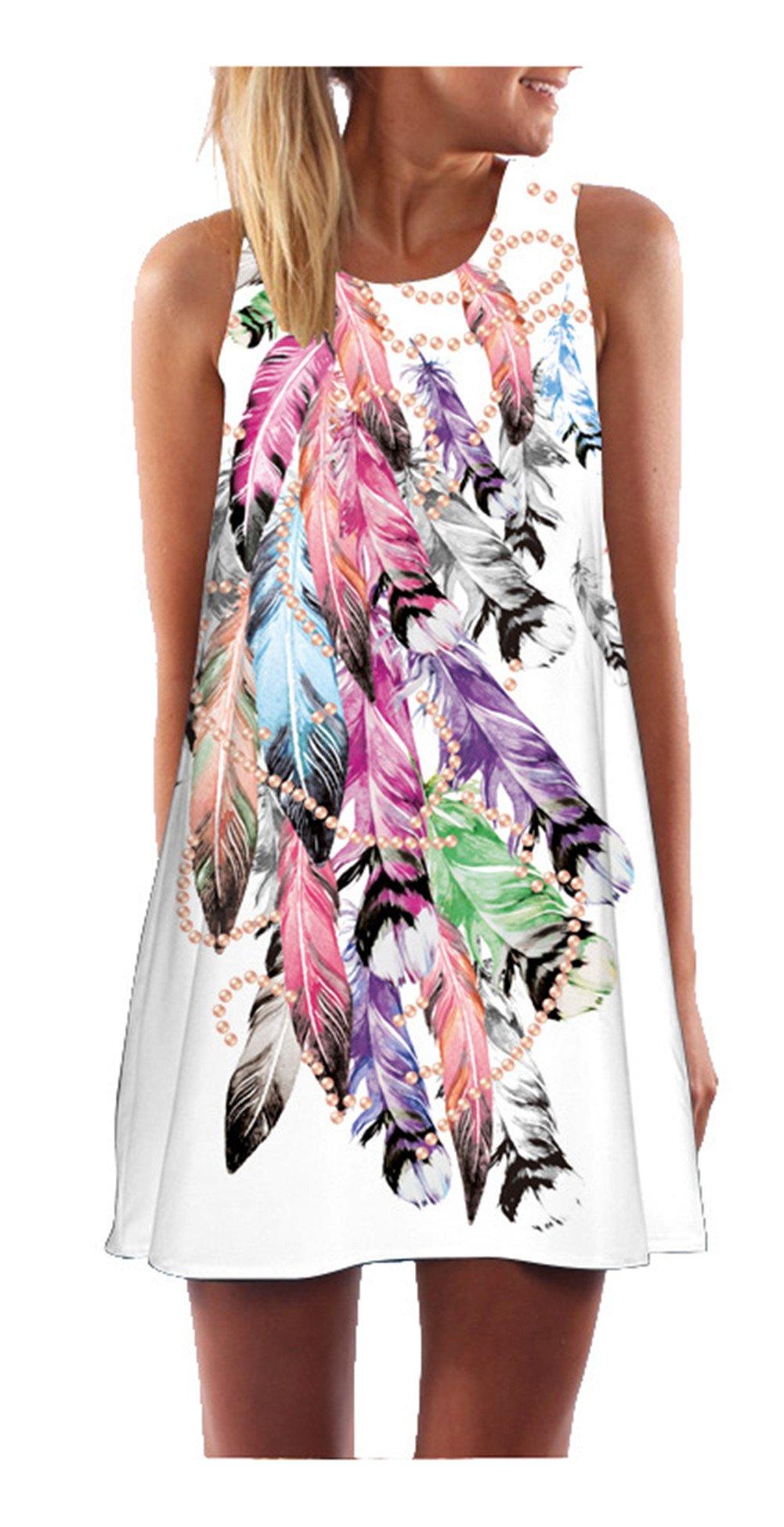 SRYSHKR 2018 Women's Summer Sleeveless Damask Floral Print Casual Loose T-Shirt Dress (XXL, Pink)