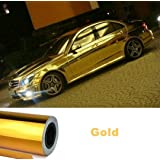 "Total Home:18""X30"" Golden Metalic Glossy Vinyl Wrap Skin Car Sticker Sheet Roll Decal Film (Color: Gold)"