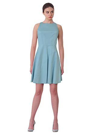 85e77f9f286 Image Unavailable. Image not available for. Color  Halston Heritage Crew Neck  Fit   Flare Sleeveless Cocktail Dress ...