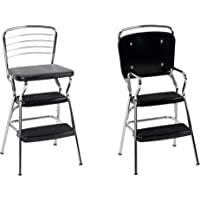 COSCO Stylaire Retro Chair + Step Stool with flip-up seat (black, one pack)