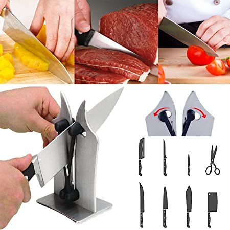 Knife Sharpener, Afilador de Cuchillos, Acero de Tungsteno, para Afilar Navajas y Cuchillos Rectos de Embotados Muy Afilados, Seguro Para La Familia, Regalo Perfecto (Silver)