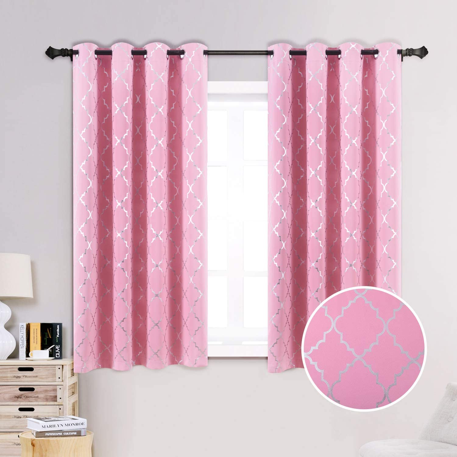 Anjee 63 Inch Blackout Curtains for Girls Room with Moroccan Pattern, Blackout Window Drapes with Grommet Top for Window Decor, 52 x 63 Inches, Pink