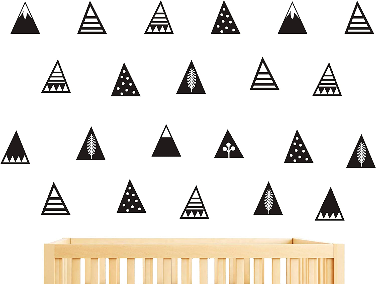 Mountain Wall Decals,8 Different Pattern,Removable Vinyl Wall Stickers for Baby Kids Boy Girl Bedroom Nursery Decor A16 (Black)