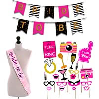 Party Propz 18Pcs Bride to be Props+ 1 Banner+ 1 Sash / Bride to Be Sash and Props / Bride to Be Props / Bride to Be Accessories / Bachelorette Party Decorations / Bachelorette Party Decorations