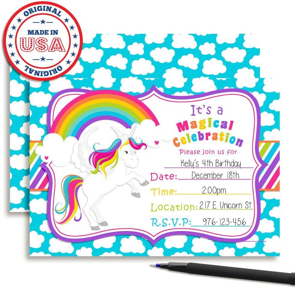20 Rainbow Unicorn Birthday Party Invitations Slumber Party Girl Boy Double Side