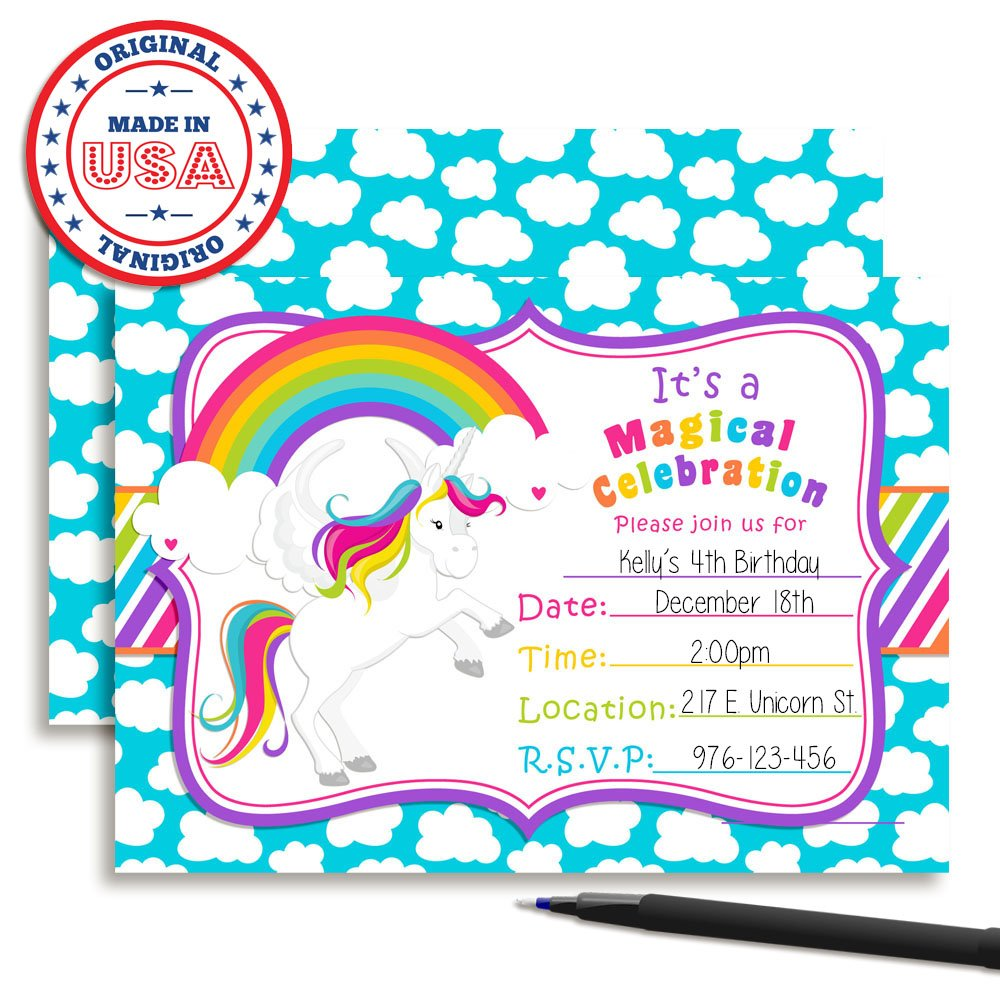 Amazon Rainbow Unicorn Birthday Party Invitations 20 5x7 Fill In Cards With Twenty White Envelopes By AmandaCreation Toys Games