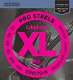 D'Addario EPS170-6 6-String ProSteels Bass Guitar Strings, Light, 32|130, Long Scale