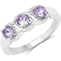 Johareez 0.75 Carat Genuine Pink Amethyst .925 Sterling Silver 3-Stone Ring