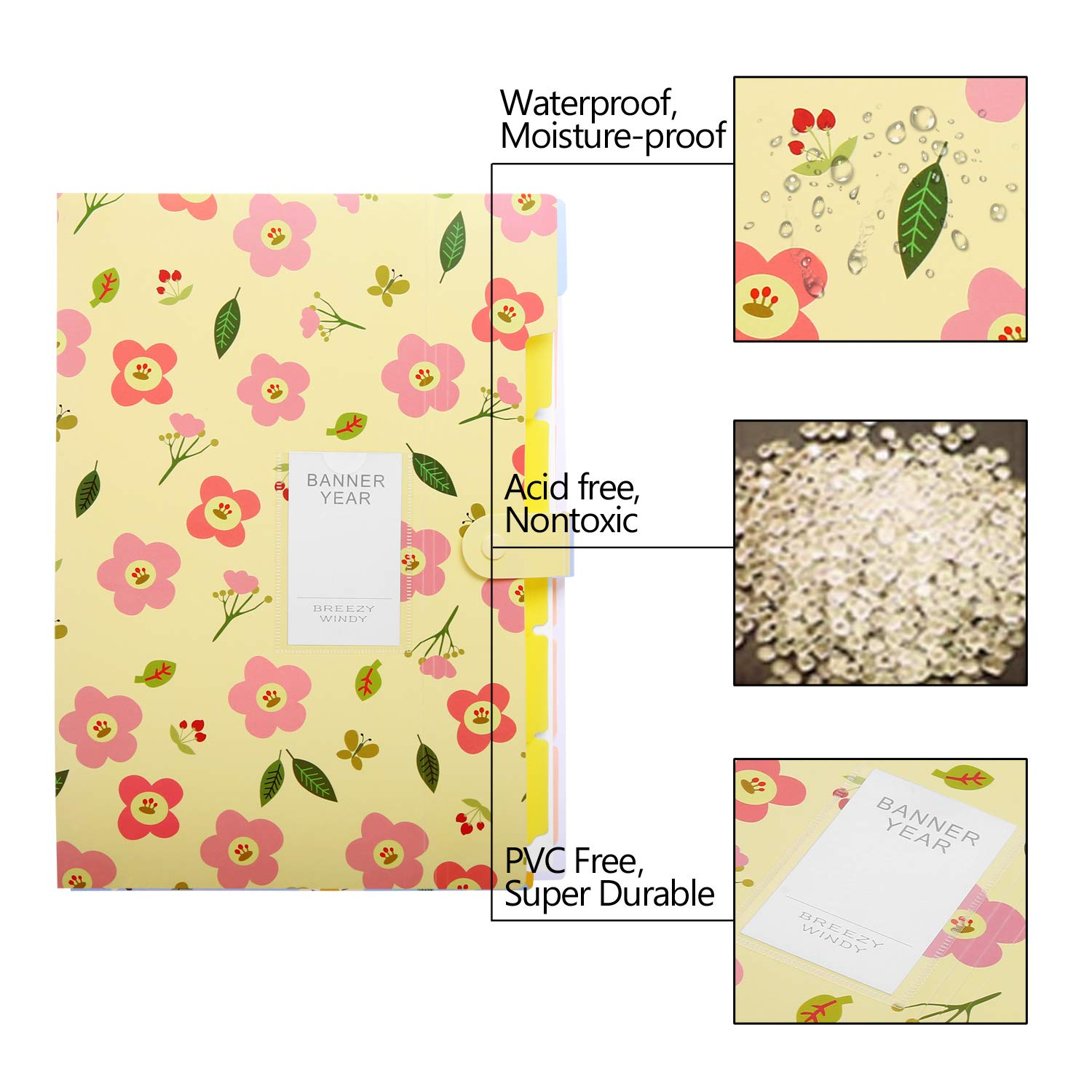 Skydue Floral Printed Expanding File Folder with 8 Pockets Accordion Document File Organizer A4 Letter Size File Jackets Pink