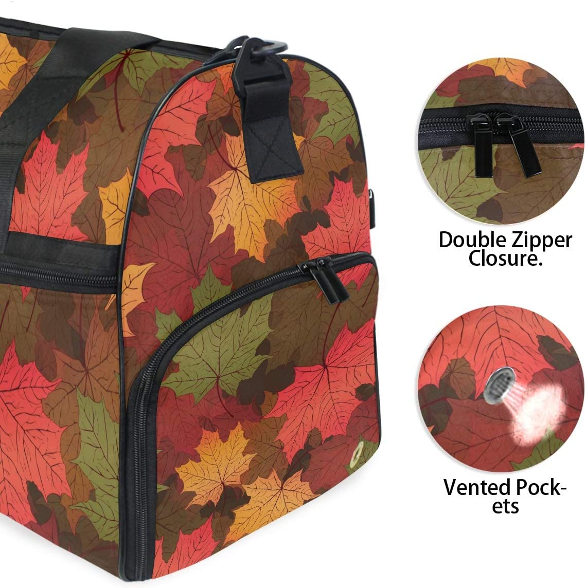 FAJRO Gym Bag Travel Duffel Express Weekender Bag Autumn Red Maple Leaves Pattern Carry On Luggage with Shoe Pouch
