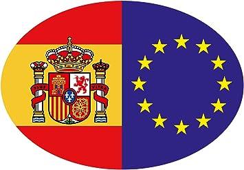 Artimagen Pegatina Bandera Oval España/UE con Escudo 80x60 mm.: Amazon.es: Coche y moto