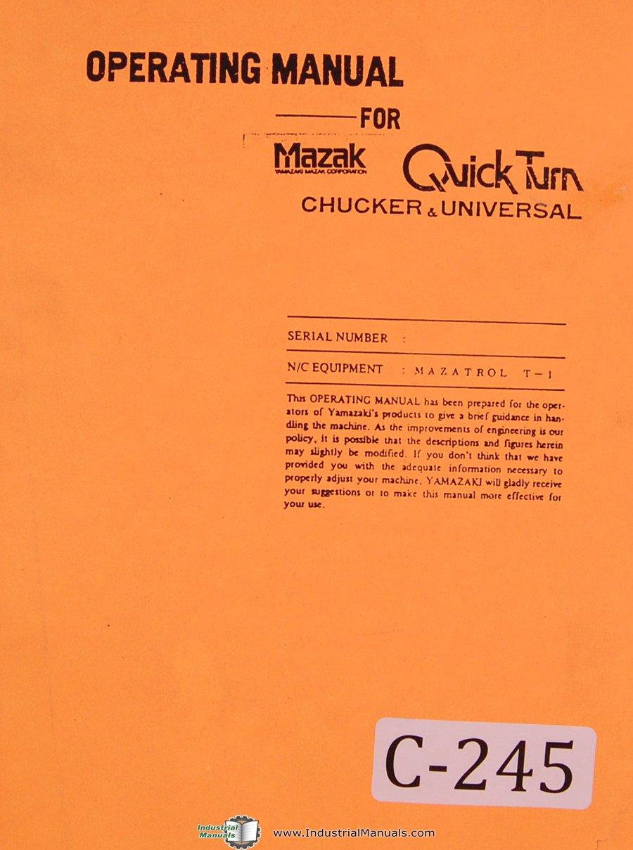 Mazak Mazatrol T-1 Quickturn Chuck CNC Programming Lathe Manual: Mazak:  Amazon.com: Books